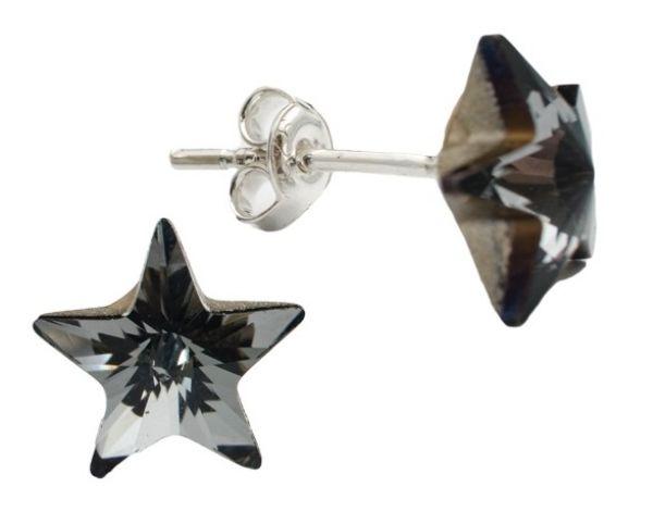silver earrings<br> with swarovski<br>Star Silver Night