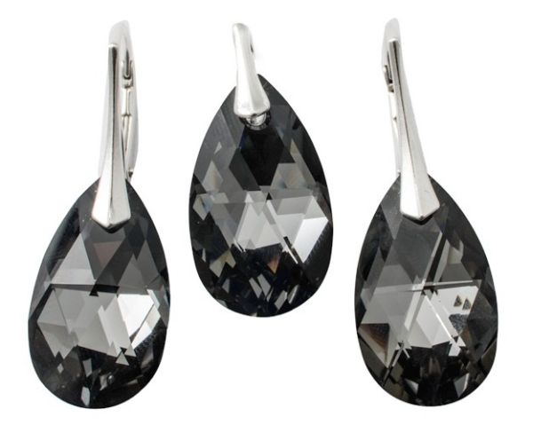 silver set with<br> swarovski Pear<br>Silver Night