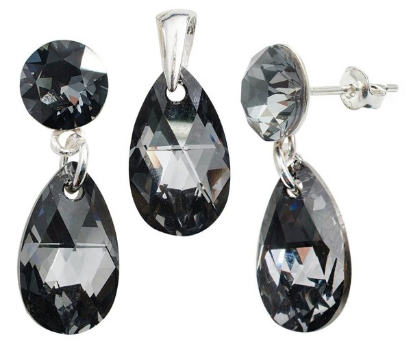 silver Set with<br> swarovski Xirius<br>Pear Silver Night