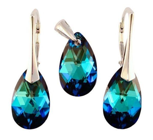 argento con<br> swarovski Pear<br>Bermuda blu