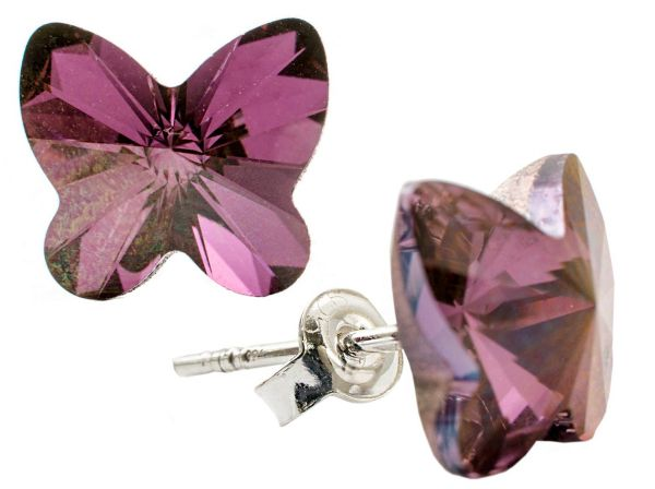 silver earrings<br> with swarovski<br>Butterfly Liliac