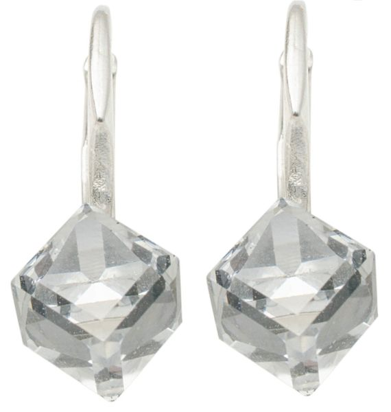 silver earrings<br> with swarovski<br>Cubic CAL