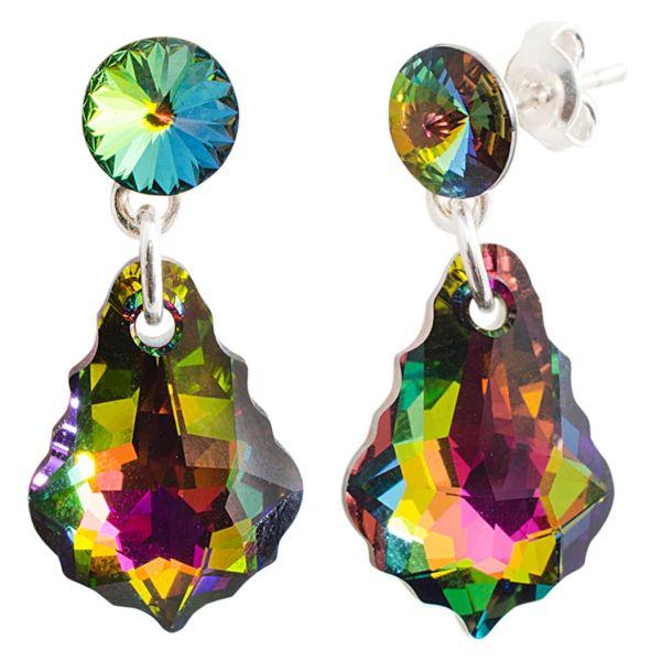 silver earrings<br> with swarovski<br>riv. Baroq v Medium