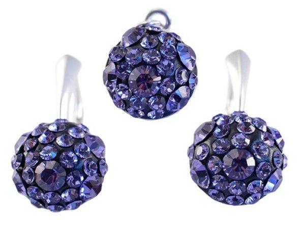 silver set with<br> swarovski Chaton<br>Ball Tanzanite