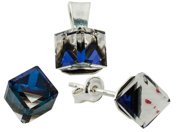 silver set with<br> swarovski Cubic<br>Bermuda Blue
