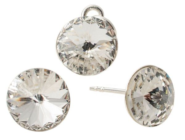 silver set with<br> swarovski Rivoli<br>Crystal Clear