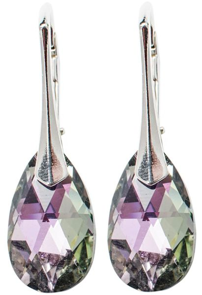 silver earrings<br> with swarovski<br>Pear Vitrail Light