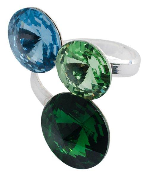 silver Ring with<br>swarovski Tri Rivoli