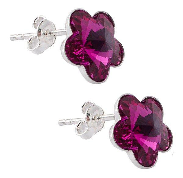 silver earrings<br> with swarovski<br>Flower Fuchsia