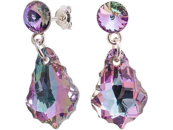 silver earrings<br> with swarovski<br>riv. Baroq v Light