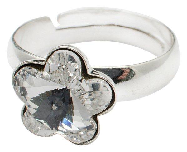 Silberring mit<br> Swarovski Blume<br>Crystal Clear