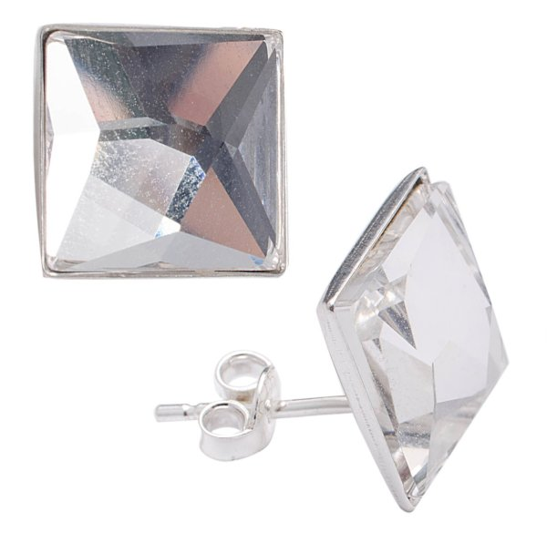 silver earrings<br> with swarovski<br>Square Clear