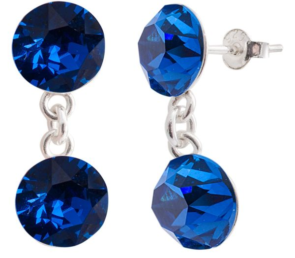 silver earrings<br> with swarovski d.<br>Xirius Capri Blu