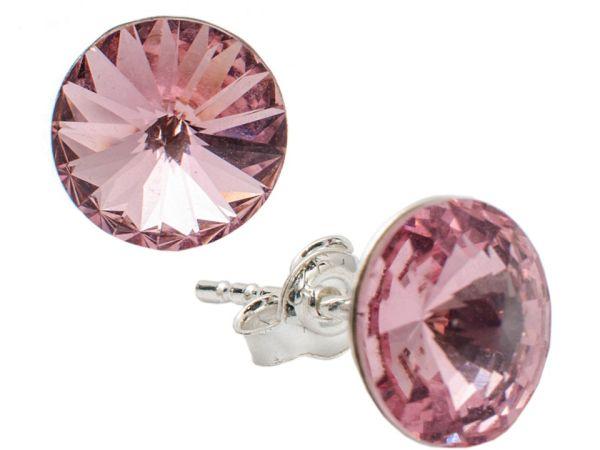 silver earrings<br> with swarovski<br>Rivoli Lt. Rose