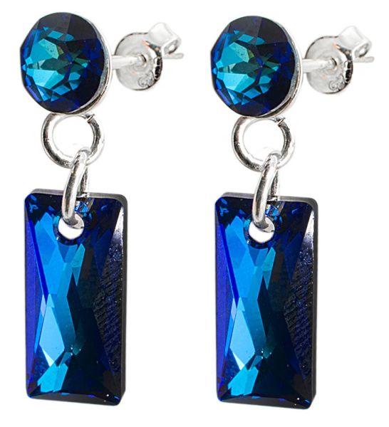 silver earrings<br> with swarovski<br>Baguette Bermuda Bl