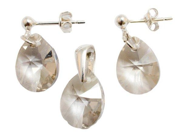 Silber mit<br> swarovski MiniPear<br>Silver Shade eingest