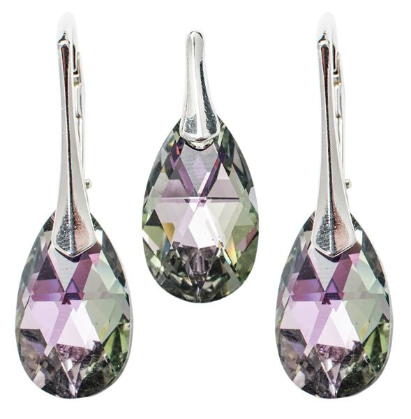silver set with<br> swarovski Pear<br>Vitrail Light