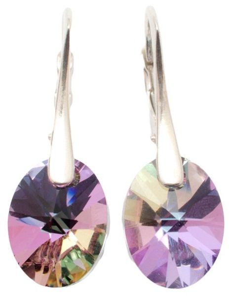 silver earrings<br> with swarovski<br>Oval Vitrail Light