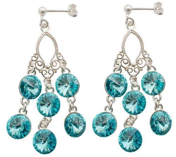 silver earrings<br> with swarovski<br>Chandelier Tuquoise