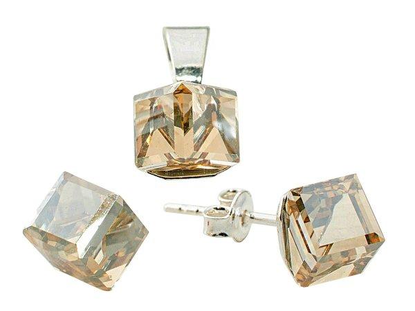 Silber mit<br> Swarovski Cubic 8<br>Golden Shadow Set