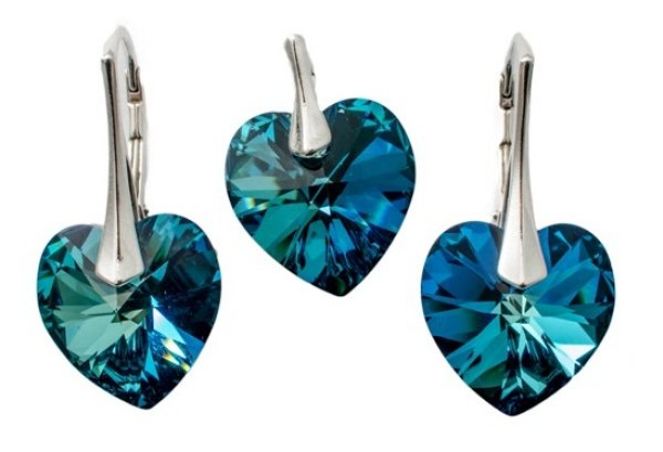 silver Set with<br> swarovski Heart<br>Bermuda Blue