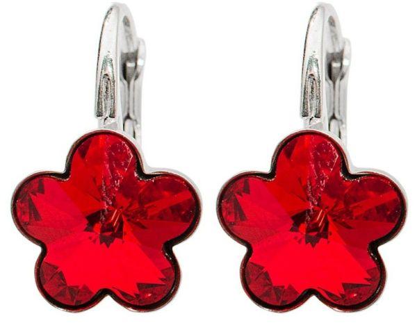 silver earrings<br> with swarovski<br>Flower Lt. Siam