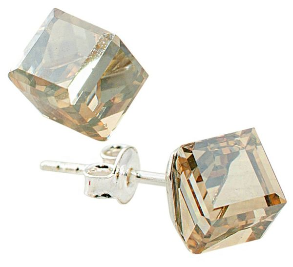 silver earrings<br> with swarovski<br>Cubic Golden Shadow