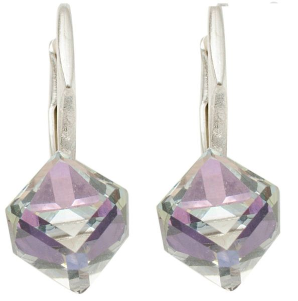 silver earrings<br> with swarovski<br>Cubic Vitrail Light