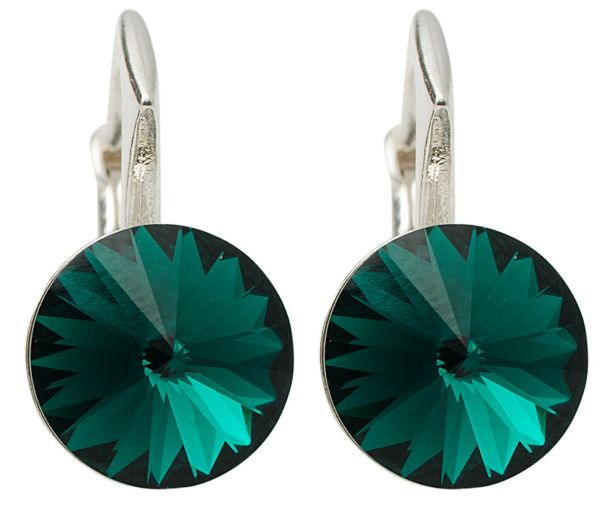 silver earrings<br> with swarovski<br>Emerald