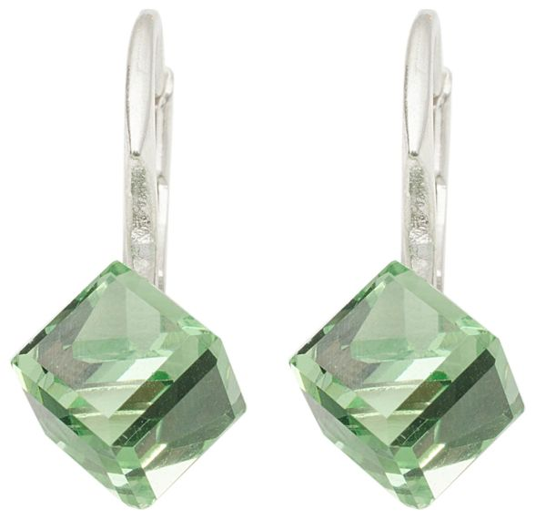 silver earrings<br> with swarovski<br>Cubic Peridot