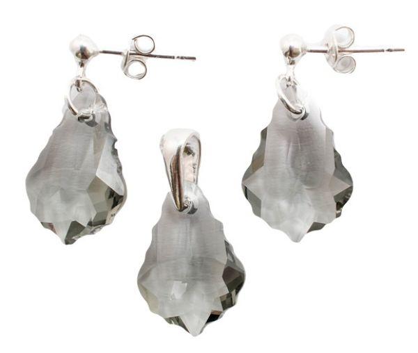 silver set with<br> swarovski Baroque<br>Black Diamond