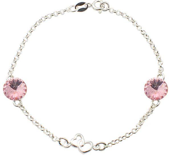 braccialetto in<br> argento doppio<br>cuore con swarovski