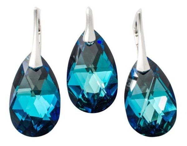 silver set with<br> swarovski Pear<br>Bermuda Blue