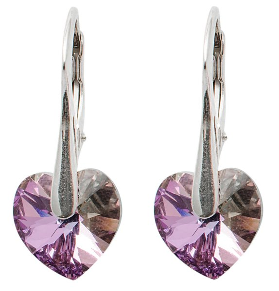 silver earrings<br> with swarovski<br>Heart Vitrail Light