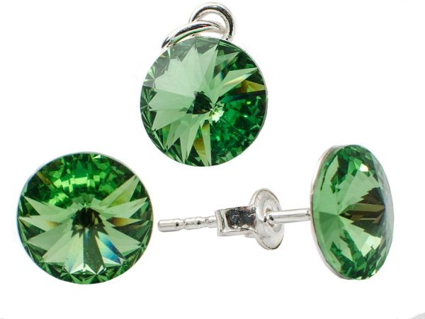 silver set with<br> swarovski Rivoli<br>Peridot