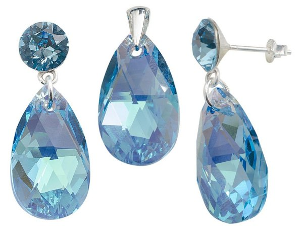 silver Set with<br> swarovski Xirius<br>Pear Aqua AB