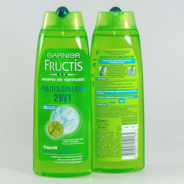 FRUCTIS SHAMPOO<br> 250ML 2IN1 CLEAN<br>&amp; BRIGHT