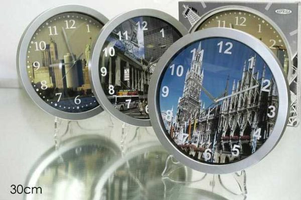 WALL CLOCK 30CM SILVER 3 ASS.