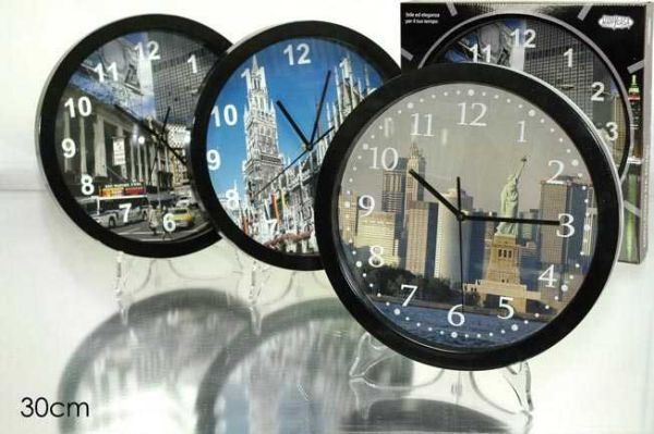 30CM WALL CLOCK BLACK ASS 3.
