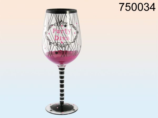 Pink wine glass,<br> party diva with<br>black &amp;