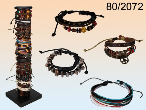 Leather bracelet,<br>ethnic style