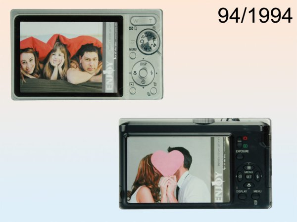 Glass photo frame,<br>digital camera