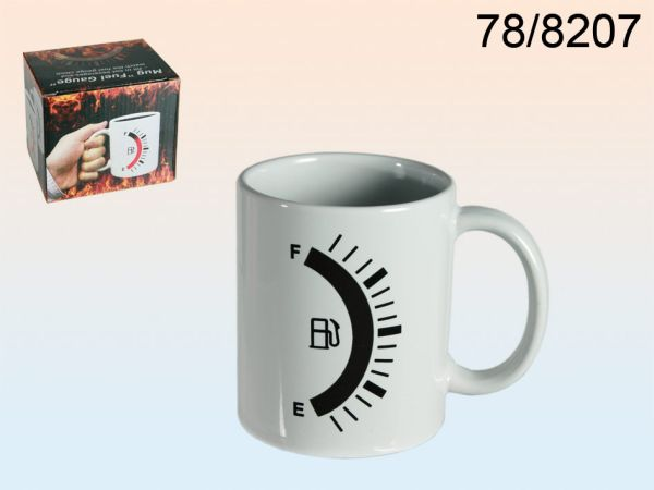 Stoneware Mug,<br> fuel gauge, reacts<br>to heat
