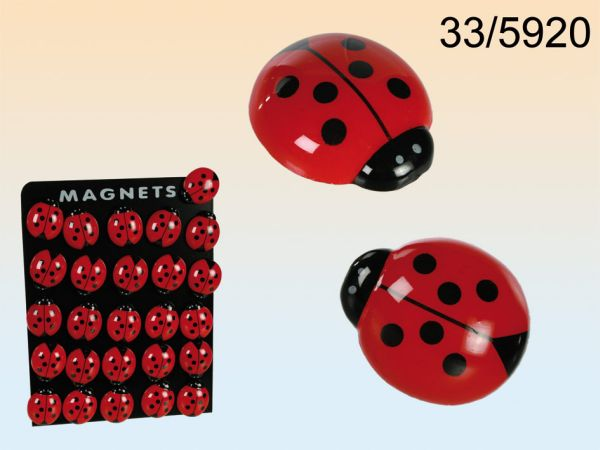 Plastic magnetic<br> ladybug with<br>magnetic board