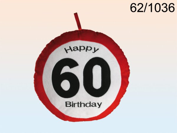 Plush pillow<br> warning sign,<br>Happy Birthday, 60