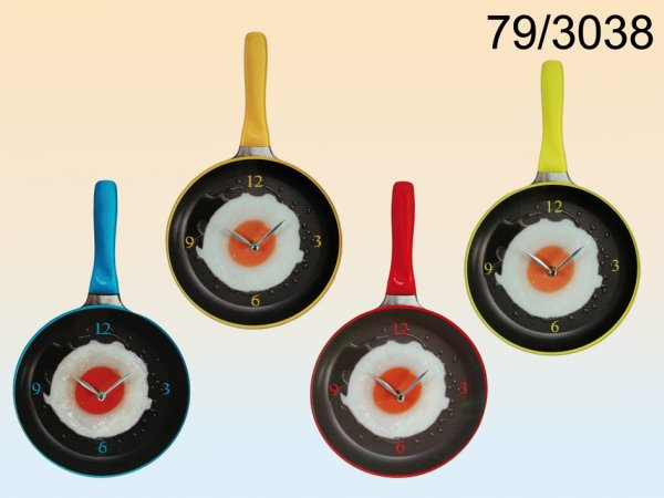 Glass wall clock,<br> frying pan with<br>fried egg