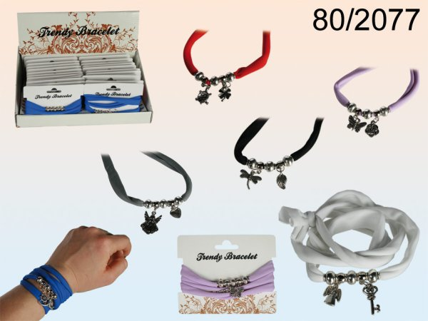 Textile bracelet,<br> fashion style with<br>metal charms
