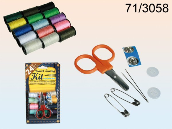 Sewing set,<br> 24-piece, on<br>blister card