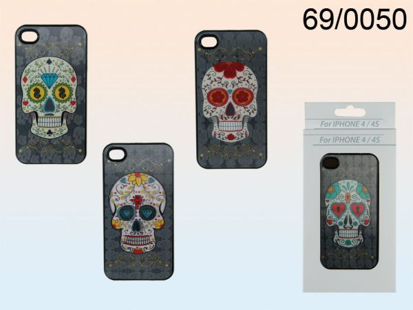 3D plastic shell,<br> Coloured Skull for<br>iPhone 4