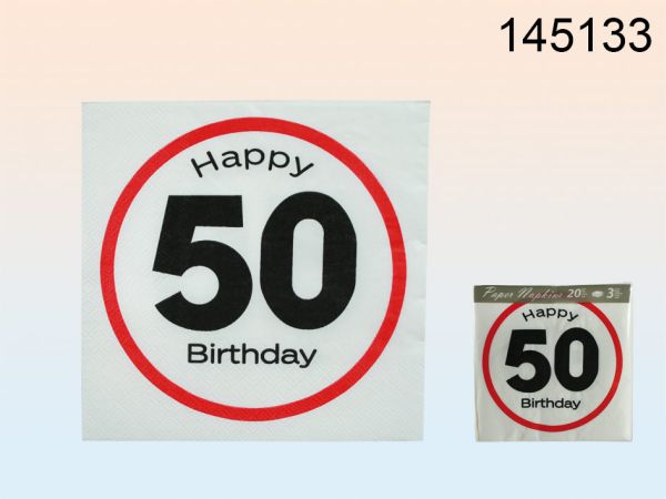 Papier-Servietten,<br>Happy Birthday, 50